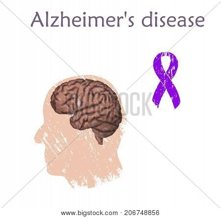 Alzheimer's disease poster, banner. Vector medical illustration. White background, silhouette of old man head, purple awareness ribbon, anatomy image of damaged human brain.