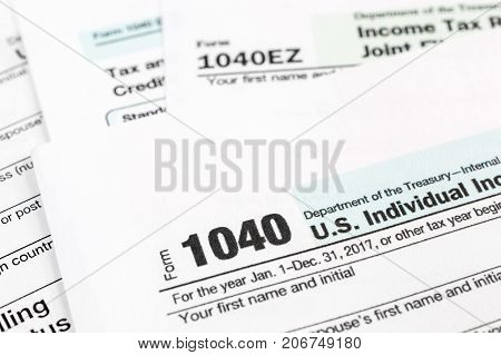 Tax forms 1040. Close up. Business background.