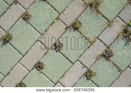 Square Grey Concrete Cobblestones with Holes for Grass Top View. Grey Cobblestone Texture. Landscaping Element Background Concept