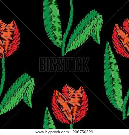 Embroidery stitches imitation seamless pattern with tulip. Vector embroidery traditional folk tulip flower on black background. Embroidery flower.