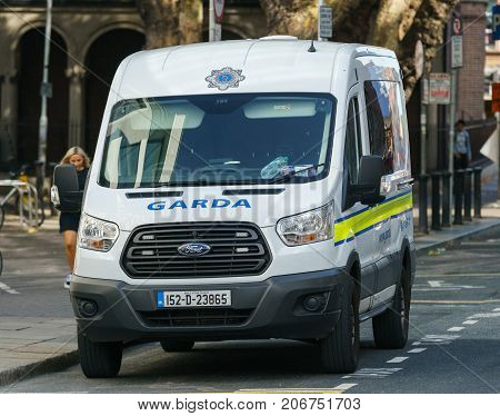 Dublin, Ireland - 30 September 2017: Garda - Irish police vehicle, patrolling Dublin streets during March for Choice in Dublin city centre