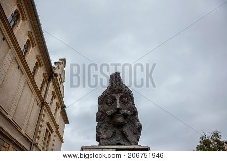 SIGHISOARA ROMANIA - SEPTEMBER 22 2017: Statue of Vlad Tepes aka Vlad Dracul or Dracula in the citadel of Sighisoara where he was allegedly born in the 14th century