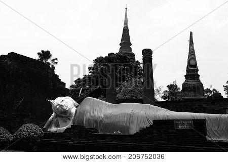 sleep Buddha or sleep Buddha image use for Buddhist day background