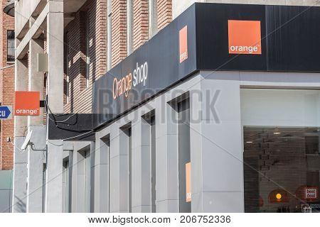 DROBETA TURNU SEVERIN ROMANIA SEPTEMBER 24 2017: Orange logo in an Orange Shop. Orange S.A. formerly France Telecom S.A. is a French multinational telecommunications corporation spread worldwide
