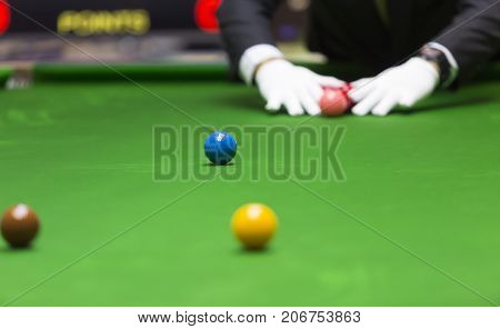 Ball and Snooker Player in competition games