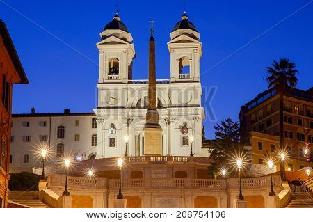 Square of Spain, Spanish staircase Trinita dei Monti in the early morning. Rome. Italy.
