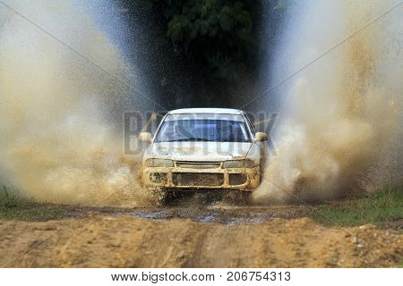 CHIANG MAI THAILAND- SEP 6: The car racing rally on hill. All of this rally for charity and free fee for everyone. Sep 62015 in Chiang Mai provinceThailand