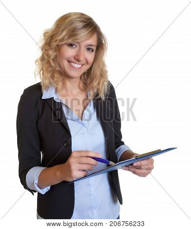 Beautiful caucasian secretary with blue blazer and clipboard