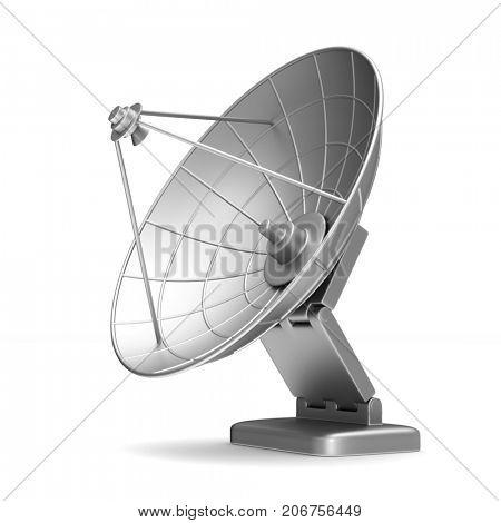 satellite aerial on white background. Isolated 3D illustration