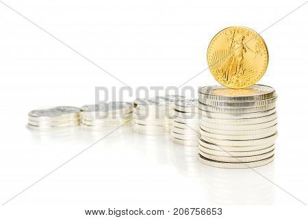 Growing Chart Made Of Silver Coins And An Ounce Golden Eagle