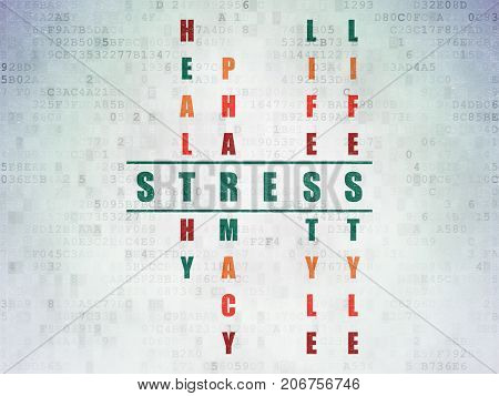 Medicine concept: Painted green word Stress in solving Crossword Puzzle on Digital Data Paper background
