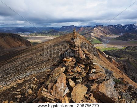 Colorful mountains in the Landmannalaugar valley Iceland poster