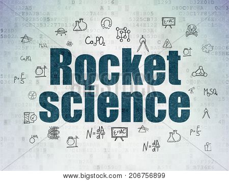 Science concept: Painted blue text Rocket Science on Digital Data Paper background with  Hand Drawn Science Icons