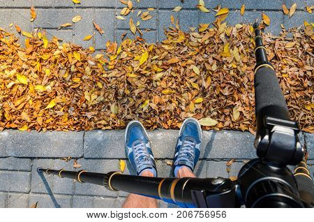 View from a tripod to the feet of a photographer taking pictures of the texture of paving stones in the autumn season. Blue Sneakers on a Gray Paving Sidewalk Covered with Fallen Leaves Top View.