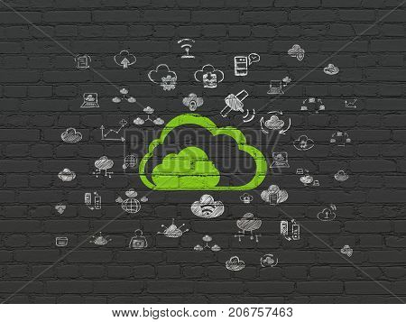 Cloud computing concept: Painted green Cloud icon on Black Brick wall background with  Hand Drawn Cloud Technology Icons