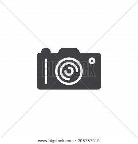 Photo camera icon vector, filled flat sign, solid pictogram isolated on white. Symbol, logo illustration.