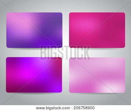 Credit cards or gift cards templates set with colorful mesh abstract design background. Pink, purple colors. Christmas gift cards design templates