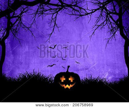 Halloween background with pumpkin on purple background with bats