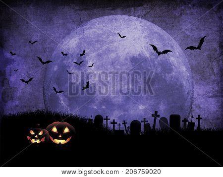 Grunge Halloween background with pumpkins in graveyard against moonlit sky