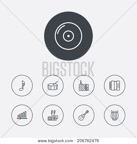 Collection Of Acoustic, Gramophone, Turntable And Other Elements.  Set Of 9 Melody Outline Icons Set.