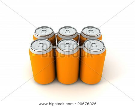 3D Illustration Of Six Orange Aluminum Cans