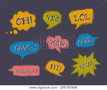 Set of speech bubbles in comic style. Dialog windows with phrases: Hi Yes Wow Welcome Oh Lol Omg Boom Cool