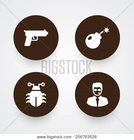 Collection Of Virus, Dynamite, Shot And Other Elements.  Set Of 4 Procuring Icons Set.