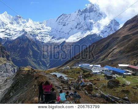 Lodges And Tourist In Annapurna Base Camp