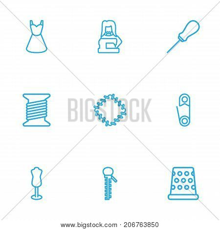 Collection Of Dummy, Awl, Tailor And Other Elements.  Set Of 9 Sewing Outline Icons Set.