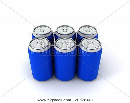 3D Illustration Of Six Blue Aluminum Cans