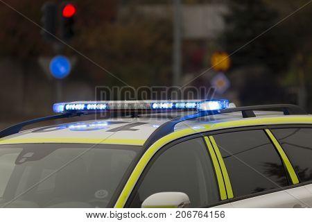 A Swedish Police Car Lights close up.