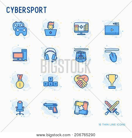 Cybersport thin line icons set: gamer, computer games, pc, headset, mouse, game controller. Modern vector illustration. poster