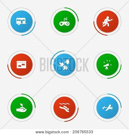 Collection Of Joystick, Telescope, Plant And Other Elements.  Set Of 9 Lifestyle Icons Set.