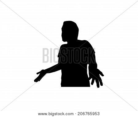 man surprised silhouette, man surprised and open his hands, illustration design, isolated on white background.