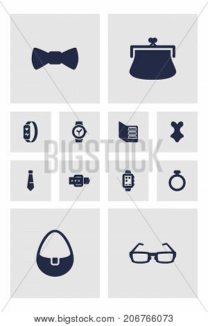 Collection Of Gadget, Bow Tie, Cardholder Wallet And Other Elements.  Set Of 12 Decorating Icons Set.