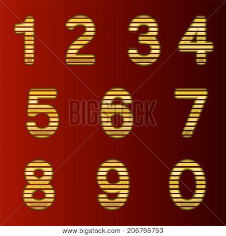 A complete set of gold 3D numbers cut into straight strips. The edges of the numbers are rounded. Font is isolated by a dark red background. Vector illustration.