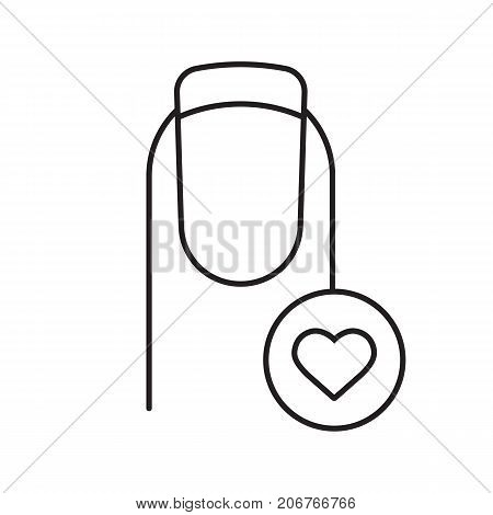 French manicure with heart shape linear icon. Thin line illustration. Favorite manicure type. Contour symbol. Vector isolated outline drawing