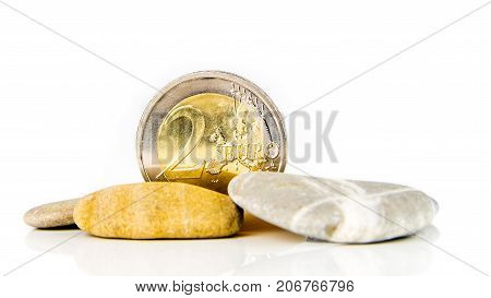 Two Euro Coin With Stones
