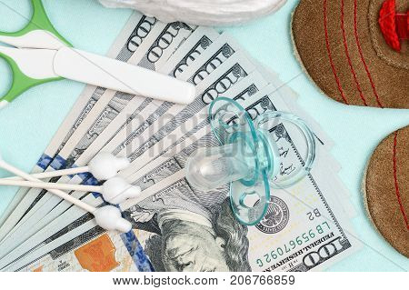 Concept Of Expenses And Outlay For Needs Of Newborn Baby Or Infant