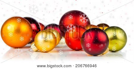 Multicolored Christmas Balls On White Background