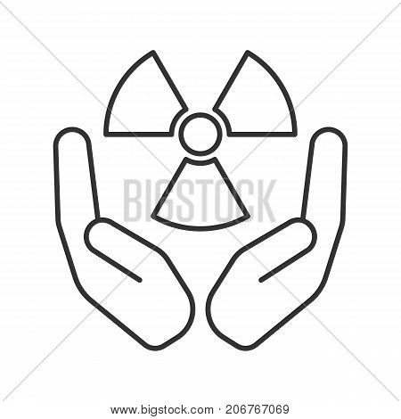Open palms with atomic power symbol linear icon. Thin line illustration. Safe nuclear power. Contour symbol. Vector isolated outline drawing