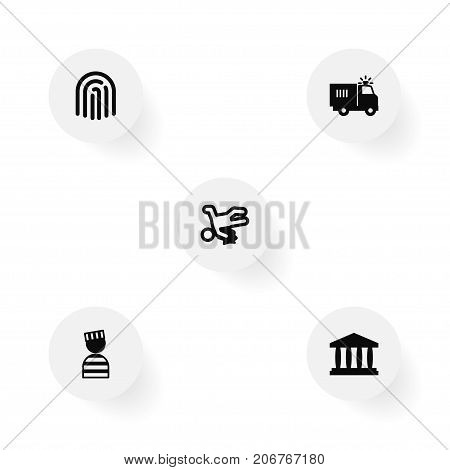 Collection Of Victim, Prisoner, Building And Other Elements.  Set Of 5 Crime Icons Set.
