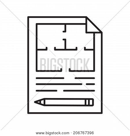 Floor plan linear icon. Thin line illustration. Flat blueprint. Contour symbol. Vector isolated outline drawing