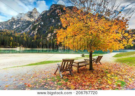 Majestic autumn landscape with stunning alpine lake and colorful trees Braies lake Dolomites Italy Europe
