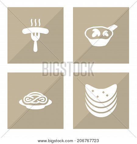 Collection Of Frankfurter, Delicious, Crisp And Other Elements.  Set Of 4 Eat Icons Set.