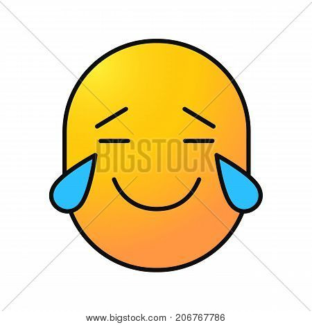 Face with tears of joy color icon. Happy crying emoticon. Isolated vector illustration
