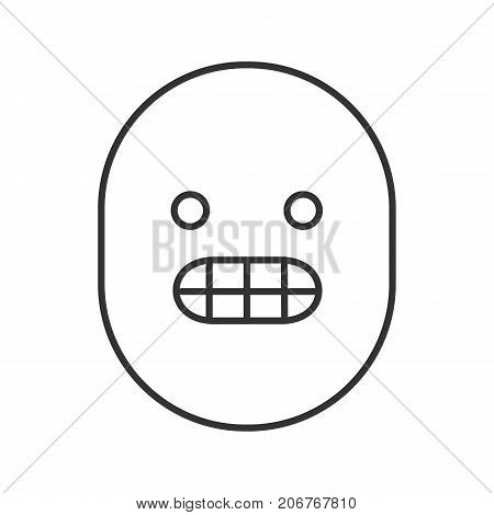 Grinning smiley linear icon. Grimacing emoticon. Thin line illustration. Excited face contour symbol. Vector isolated outline drawing