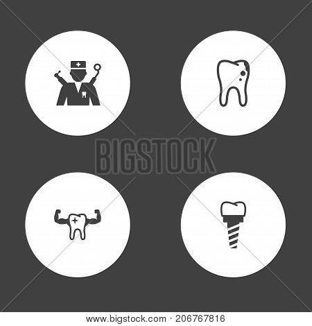 Collection Of Healthful, Orthodontist, Decay And Other Elements.  Set Of 4 Teeth Icons Set.