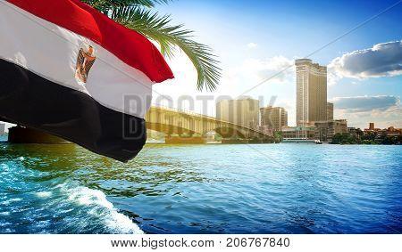 Bridge on the Nile dividing Cairo and Giza
