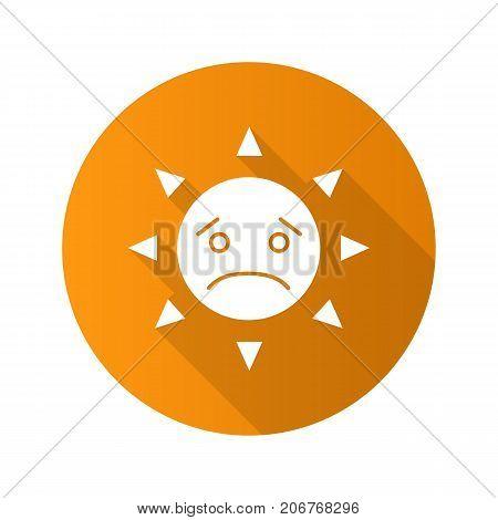Sad sun smile flat design long shadow glyph icon. Bad mood. Emoticon. Vector silhouette illustration